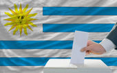 Man voting on elections in uruguay in front of flag — Foto de Stock