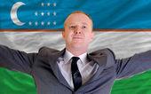 Happy businessman because of profitable investment in uzbekistan — Stock Photo