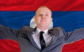 Fique feliz empresário por causa do investimento rentável no laos — Fotografia Stock