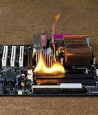 Burning computer main board — Stock Photo