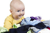 Young child with washing — Stock Photo