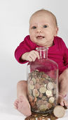 Nursling with money — Stock Photo