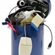 Trashcan with electronic waste — Stock Photo
