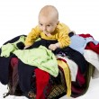 Young child with washing - Stock Photo