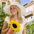 Sunhat and Sunflower - Stock Photo