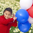 图库照片: Beautiful Little Girl Playing With Balloons