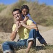 Man & Girl, Happy Father and Daughter Playing At Beach — Stock Photo