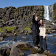 Romantic Couple By a Waterfall — Stock Photo