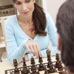 Beautiful Woman Playing Chess With Her Husband — Stock Photo