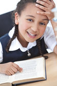 Pretty Young School Girl Reading A Book — Stock Photo