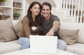 Happy Middle Aged Man & Woman Couple Using Laptop Computer — Stock Photo