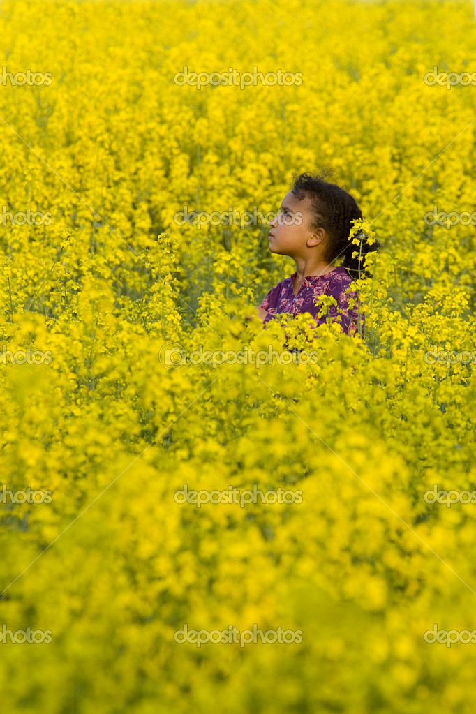 A beautiful mixed race girl looks skyward while surrounded by a field of yellow flowers — Stock Photo #6803064