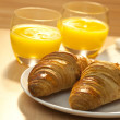 Healthy Continental Breakfast Croissant and Orange Juice — Stock Photo #6875283
