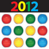 2012 年のカラフルなカレンダー — ストックベクタ