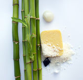 Bamboo, crystals, minerals and soap — Stock Photo