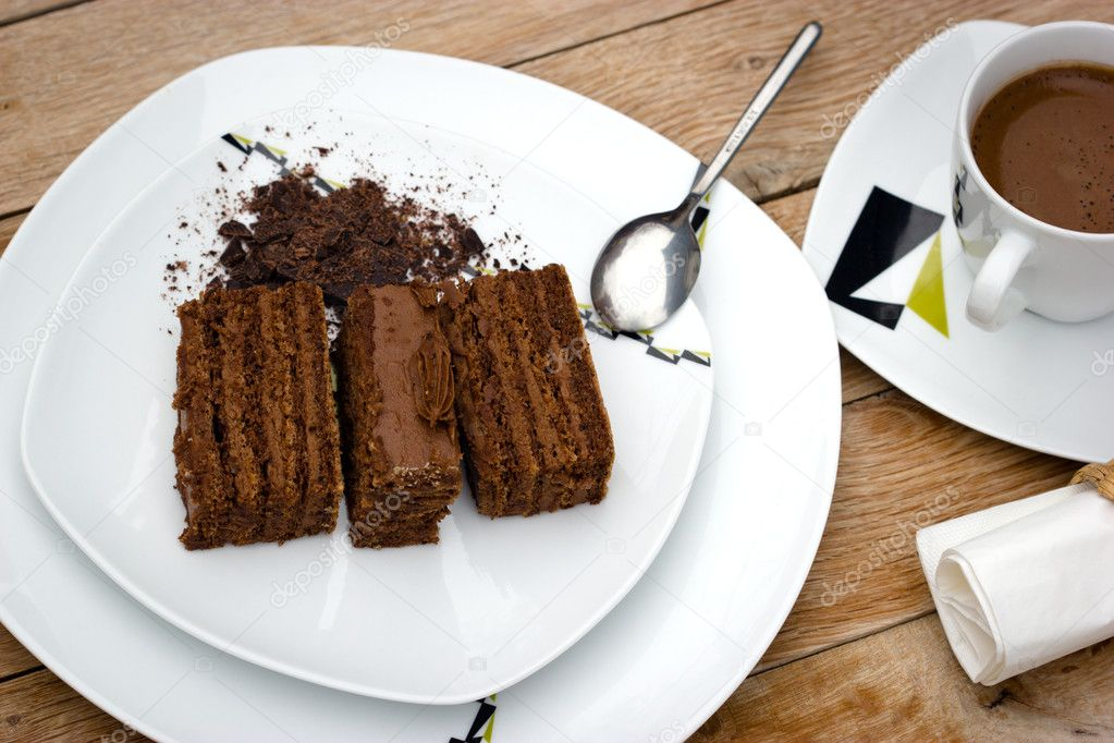 Chocolate cake and coffee are real pleasure to taste — Stock Photo #7688114
