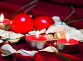 Romance with candles — Stock Photo