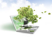 Green energy from laptop — Stock Photo