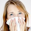 Teen womwith allergy or cold — Stock Photo #7023933