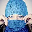 Beautiful girl with a scarf hiding — Stock Photo #7023943