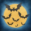 Halloween bat and full moon recycled papercraft background — Stock Photo #7103495