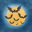 Halloween bat and full moon recycled papercraft background — Stock Photo