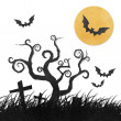 Halloween night recycled papercraft background — Stock Photo