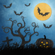 Royalty-Free Stock Photo: Halloween night recycled papercraft background