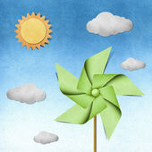 Windmill recycled papercraft — Foto de Stock