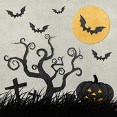 Halloween night recycled papercraft background — 图库照片