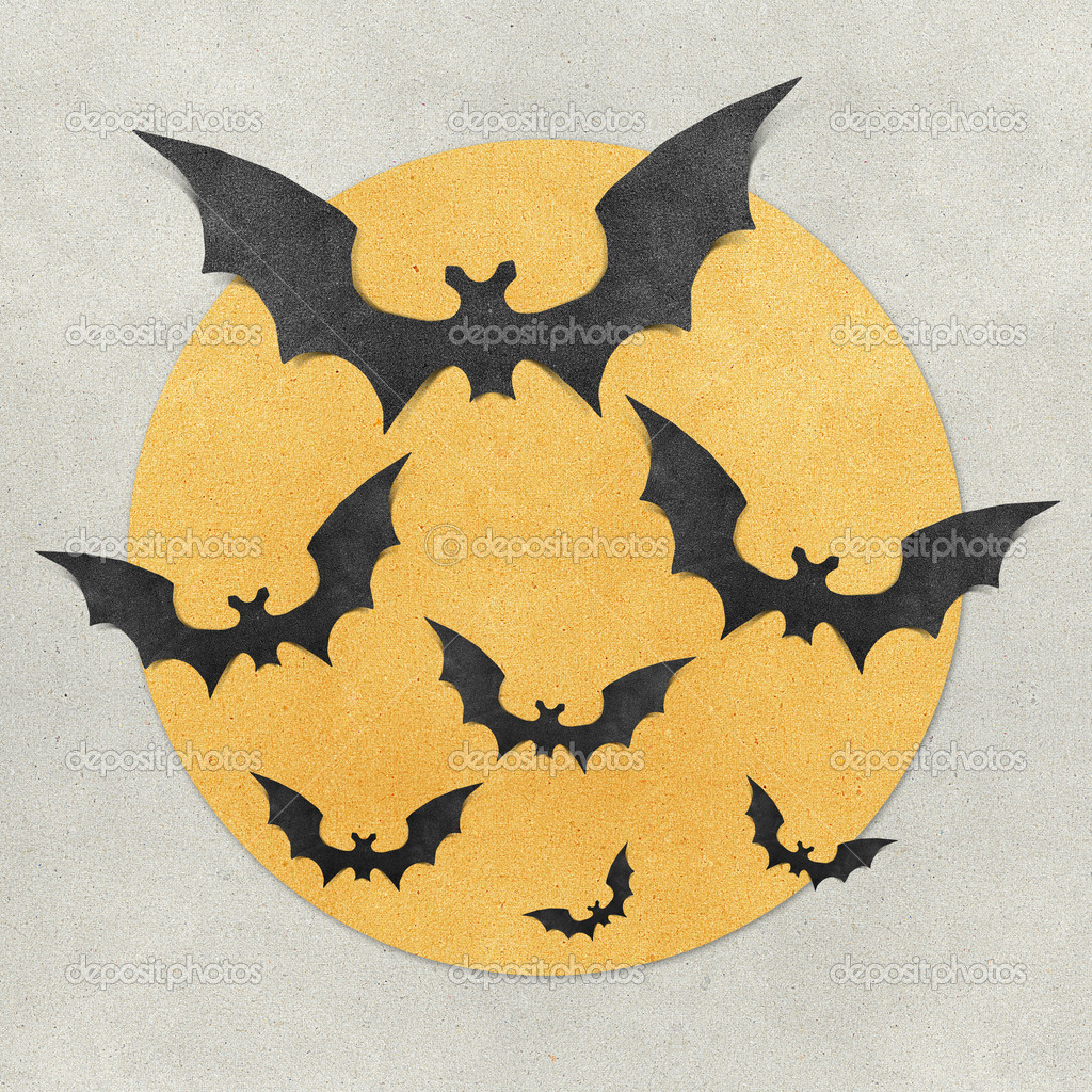 Halloween bat and full moon recycled papercraft background — Stock Photo #7103460