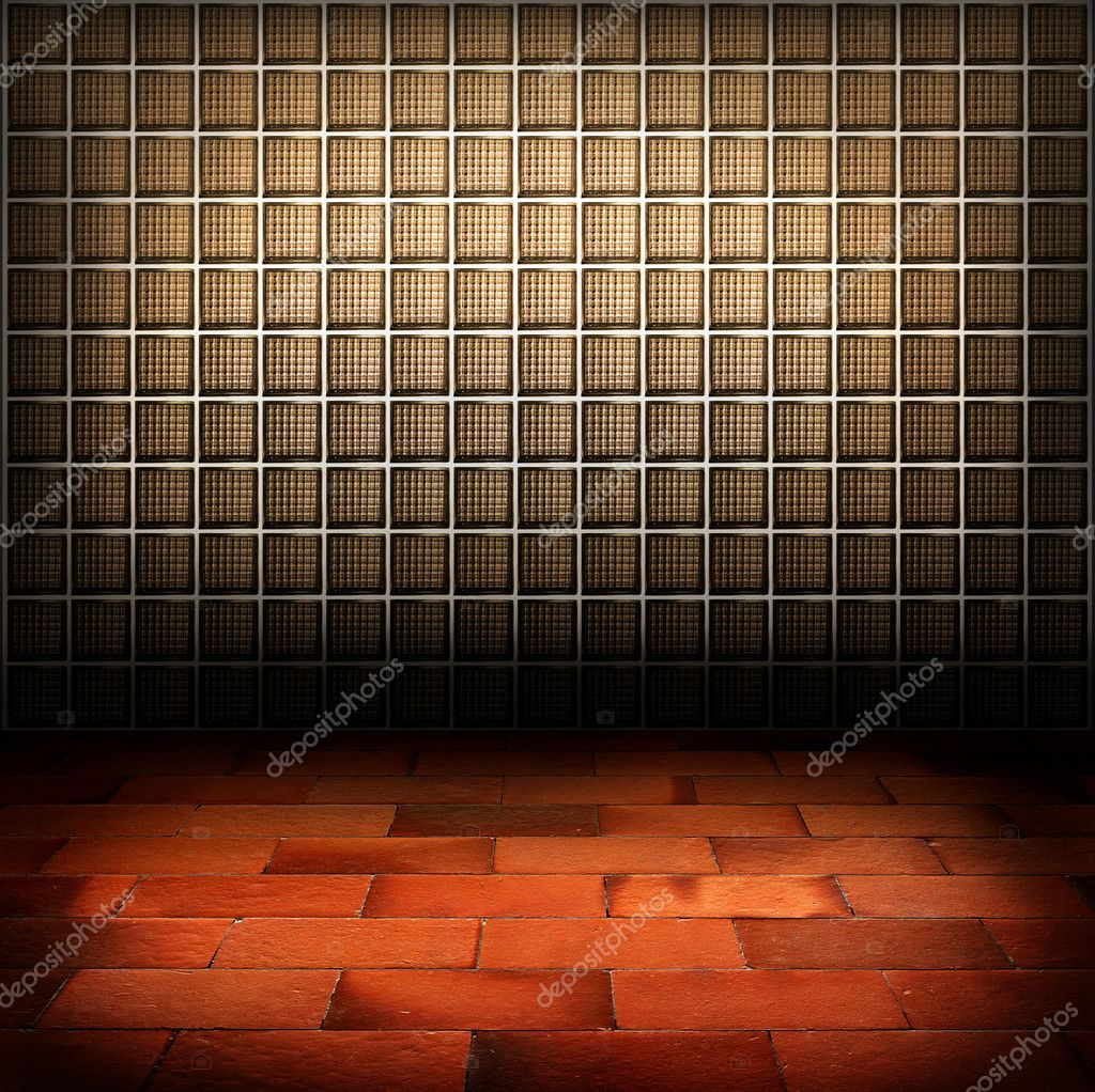 Glass Block Wall And Red Brick Floor Background Stock