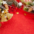Christmas border from branch and bells — 图库照片