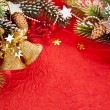Christmas border from branch and bells — Stockfoto #6892662