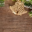 Stockfoto: Christmas border from branch and bells