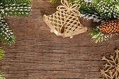 Christmas border from branch and bells — Foto Stock