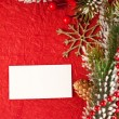 Christmas background with blank card — Stock Photo