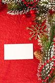 Fondo de navidad con tarjeta en blanco — Foto de Stock