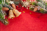 Christmas border from branch and decorations — Stock Photo