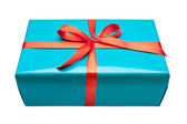 Single blue gift box — Stock Photo