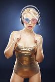 Beautiful girl in gold swimwear — Stock Photo