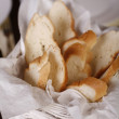 Close-up with elegant white basket with fresh bread. — Stock Photo #7258624