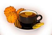 Bebida caliente con naranja y limón — Foto de Stock