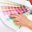 Stock Photo: Color chart and womhand