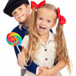 Kids in retro outfit — Stock Photo