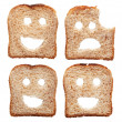 Safety concept with smiling and sad bread slices — Stock Photo #7337978