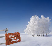 Rusty metallic sign indicating north pole — Stock Photo