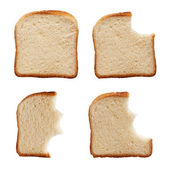 Eating a slice of bread — Stock Photo