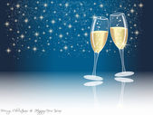 Happy new year champagne glasses — Stock Photo