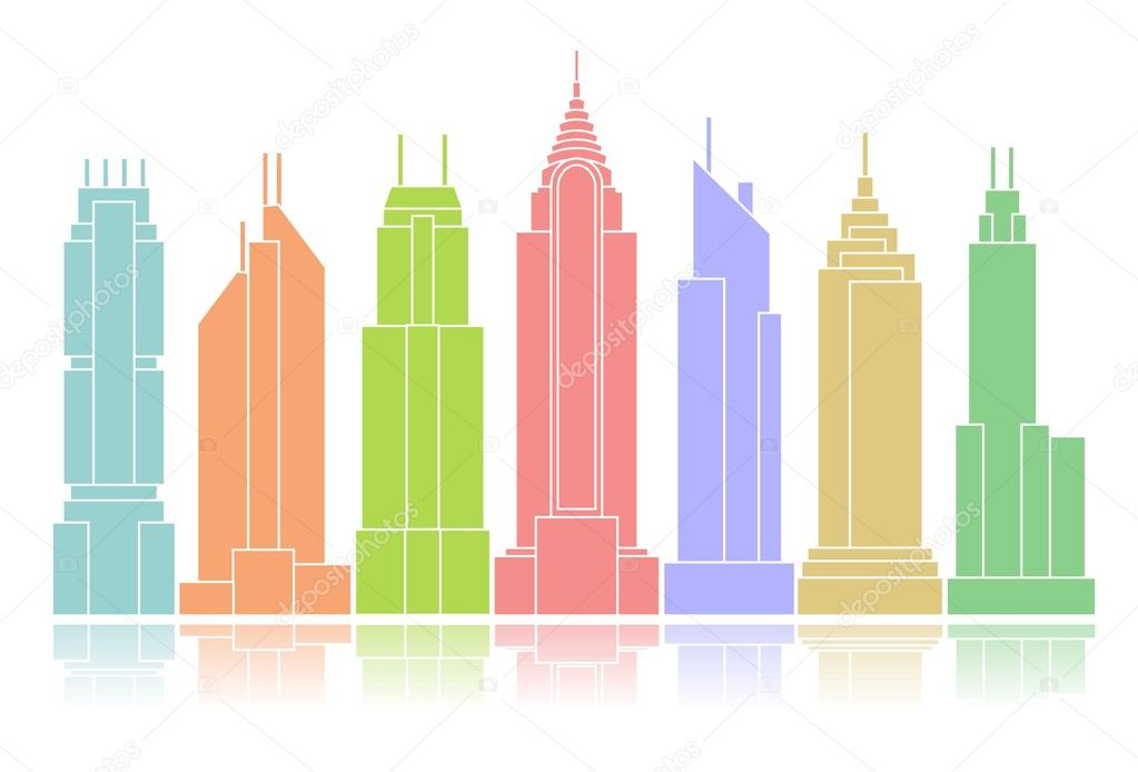 Colorful skyscraper icons arranged in a row — Stock Photo #7569933